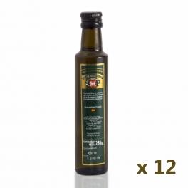 Pack: 12 glass bottles of 250 ml. extra virgin olive oil