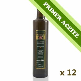 PRIMER ACEITE - Caja: 12 botellas de cristal de 0,5 l. aceite de oliva virgen extra
