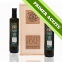 PRIMER ACEITE - Estuche madera: 2 botellas de cristal Dorica de 0,5 l. aceite de oliva virgen extra