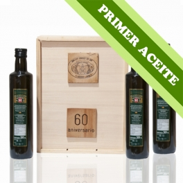 PRIMER ACEITE - Estuche madera: 3 botellas de cristal Dorica de 0,5 l. aceite de oliva virgen extra